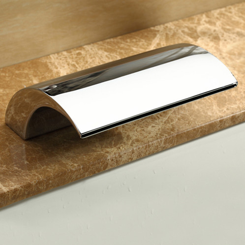 this wallmount faucet is designed to accommodate a tub the spout transforms the water flow into a miniature waterfall