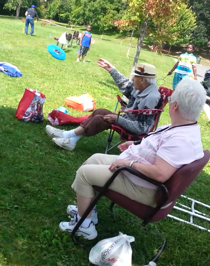 We visit local parks to enjoy outdoor games and activities