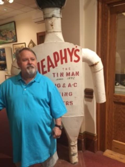 Posing like a 'Tin Man' at Onondaga Historical Museum