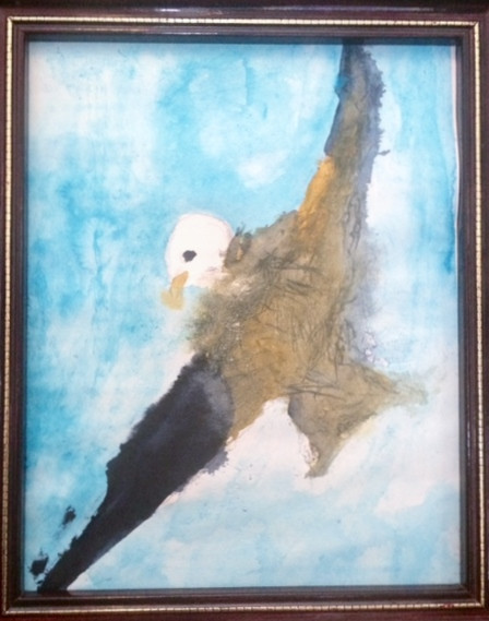 Watercolor painting of a bald eagle done by SDP Participant