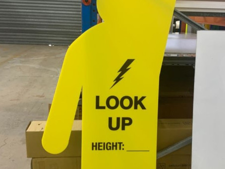 """Great New Safety Sign - """"Look Up"""" Yellow Men"""
