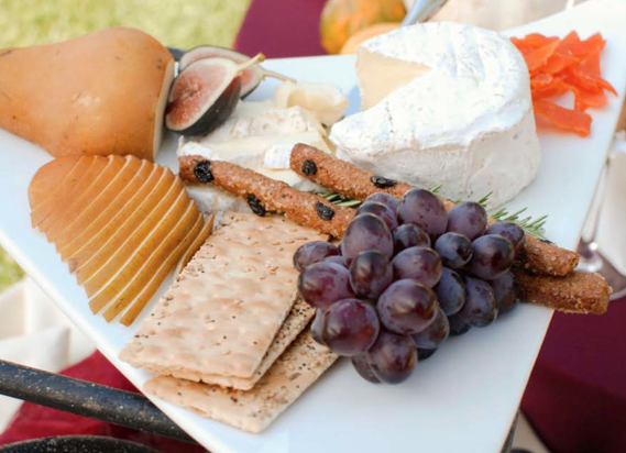 Artisan cheeses with seasonal fruit