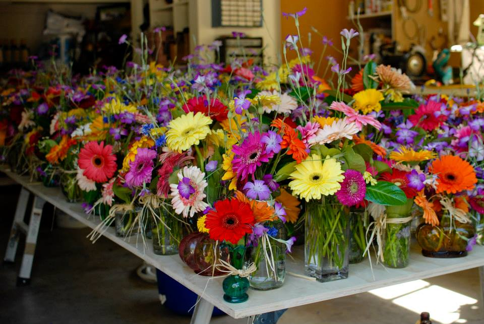 Varied Gerbera daisies & wildflowers