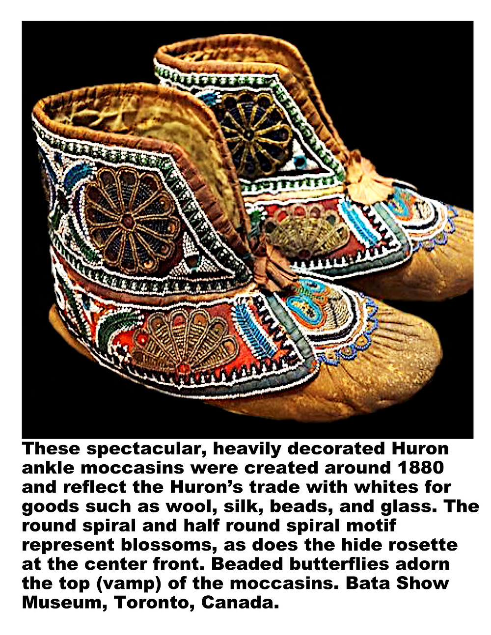 Huron ankle moccasins created around 1880.