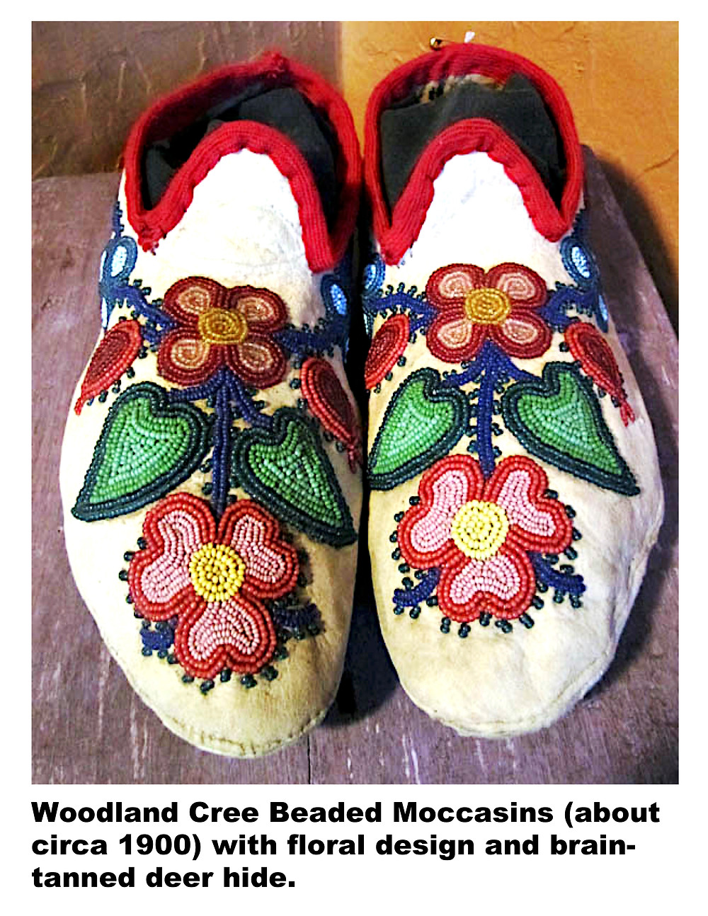 Woodland Cree Beaded Moccasins with floral design and brain-tanned deer hide.