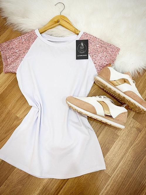 Camiseta lentejuelas rosa