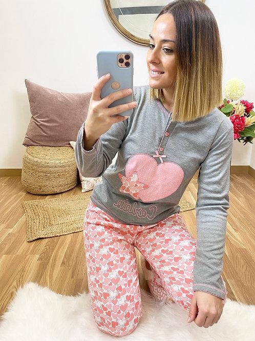 Pijama star love gris