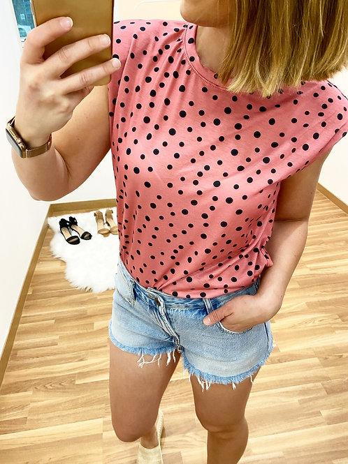 Camiseta topitos salmón
