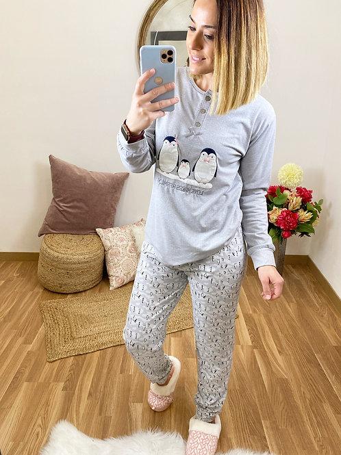 Pijama pingüinos gris