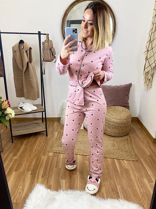 Pijama camisa ositos rosa