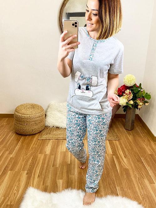 Pijama conejito bolsillo gris