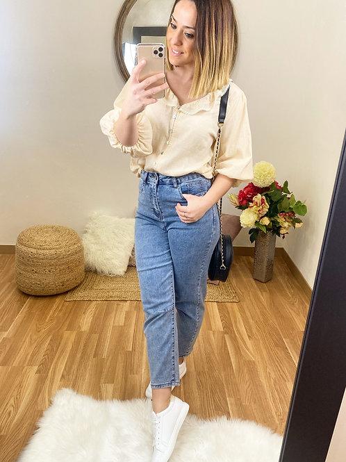 Jeans slouchy tiro alto