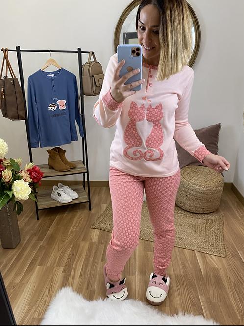 Pijama gatitos enamorados salmón