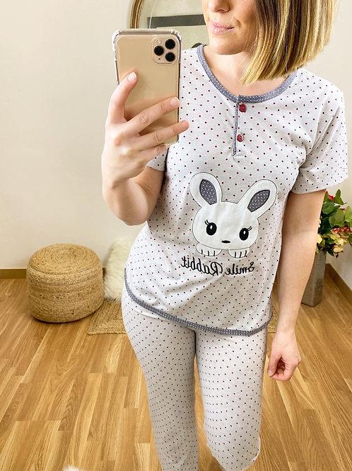 Pijama conejito topitos gris