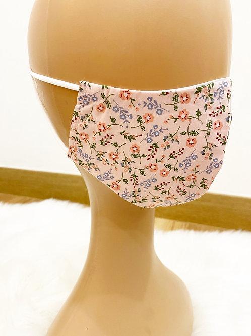 Funda mascarilla y filtro flores rosa