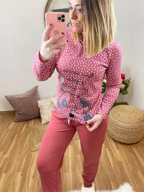 Pijama perrito topitos salmón