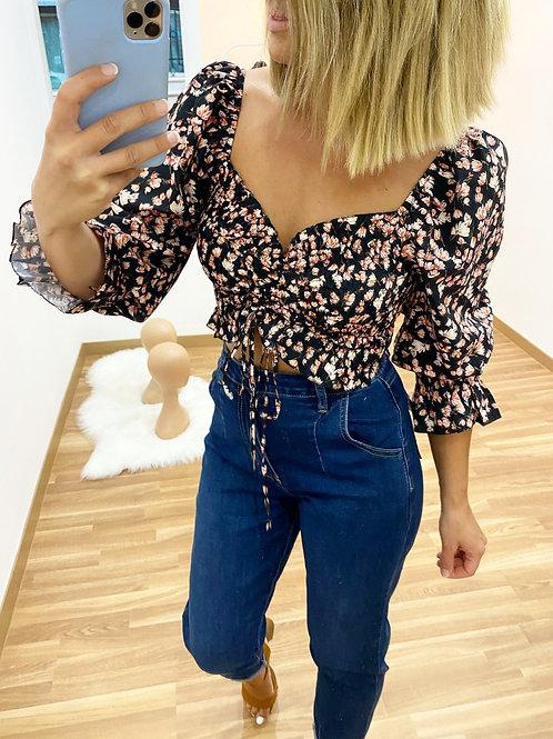 Blusa floral negra