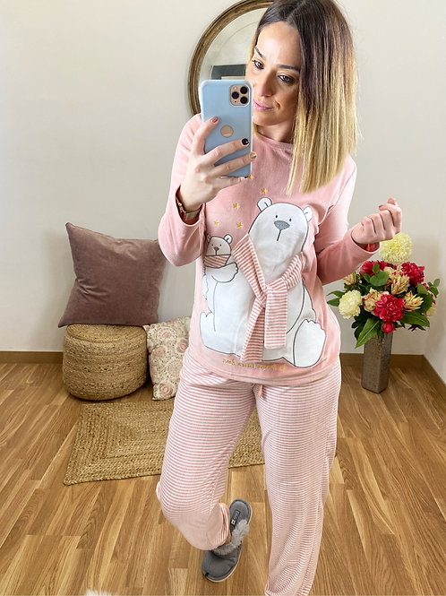 Pijama osito con bufanda rosa