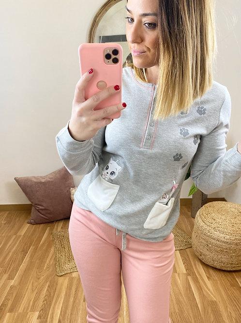 Pijama bolsillos gatito gris