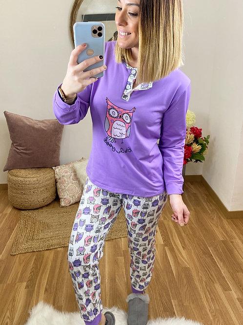Pijama búho lila