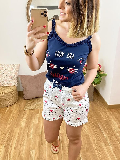 Pijama tirantes gatito marino