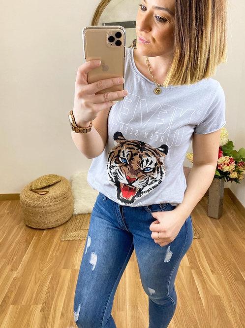 Camiseta Never Tiger gris