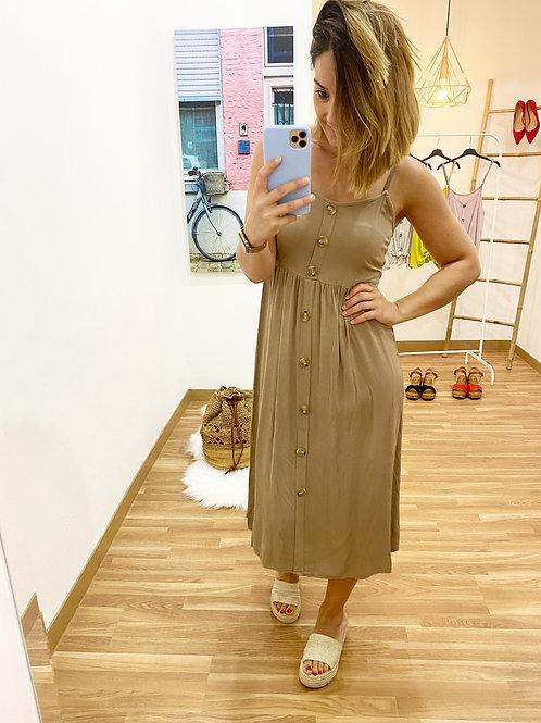 Vestido midi botones camel