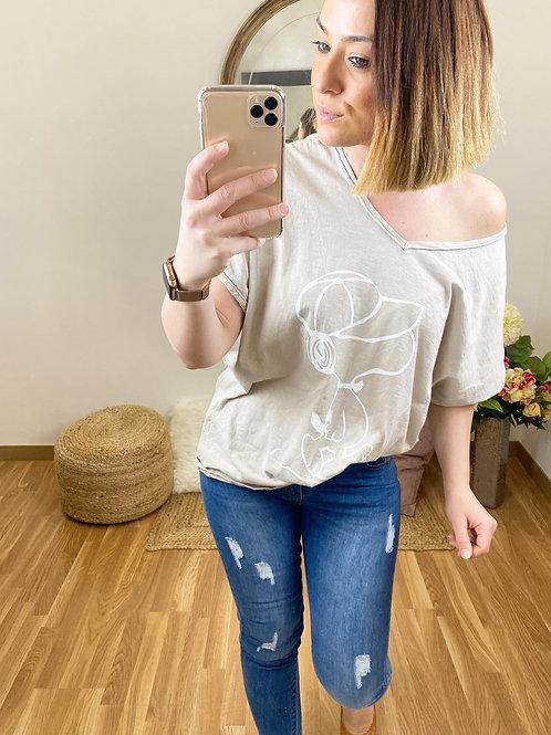 Camiseta Snoopy crema