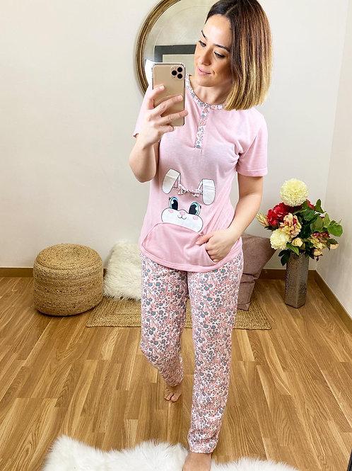 Pijama conejito bolsillo rosa