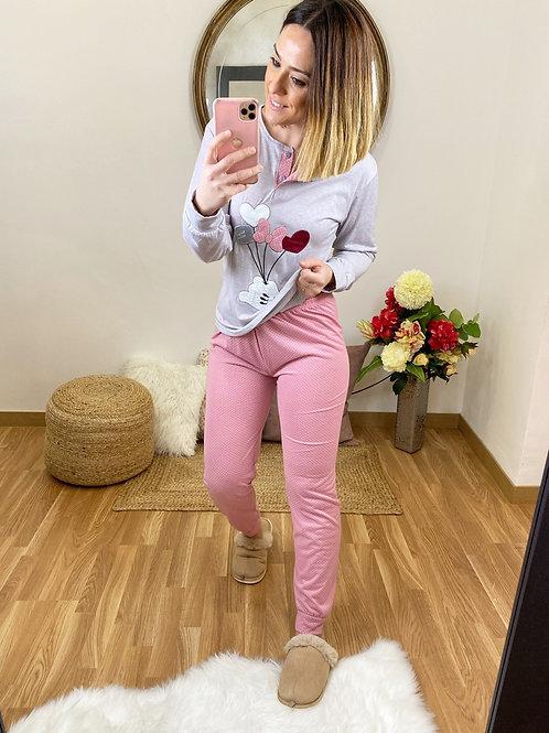 Pijama lazo Love gris