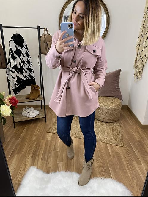 Abrigo paño bolsillos rosa