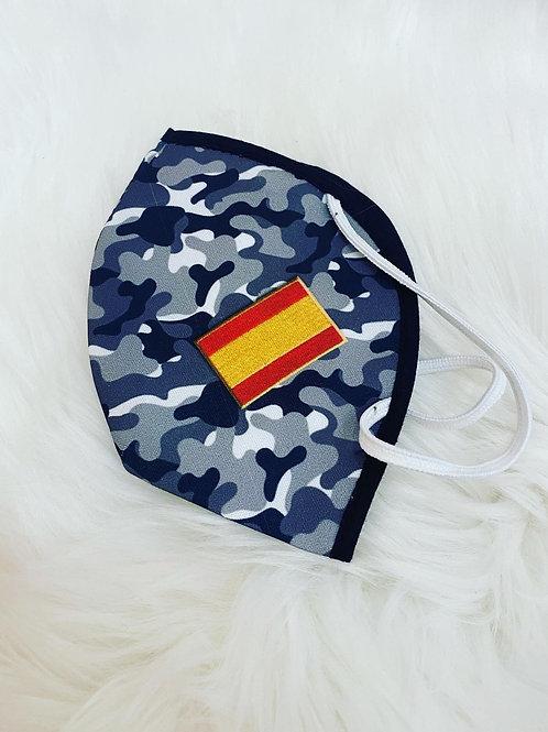 Mascarilla camuflaje gris bandera