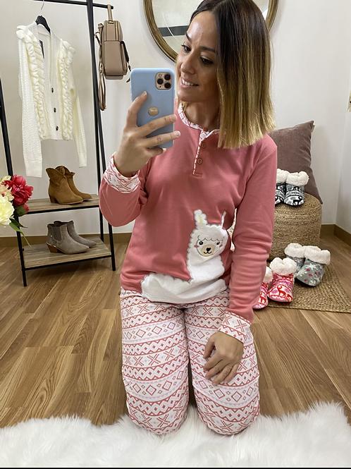 Pijama llama salmón