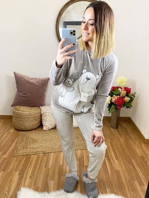 Pijama osito con bufanda tierra