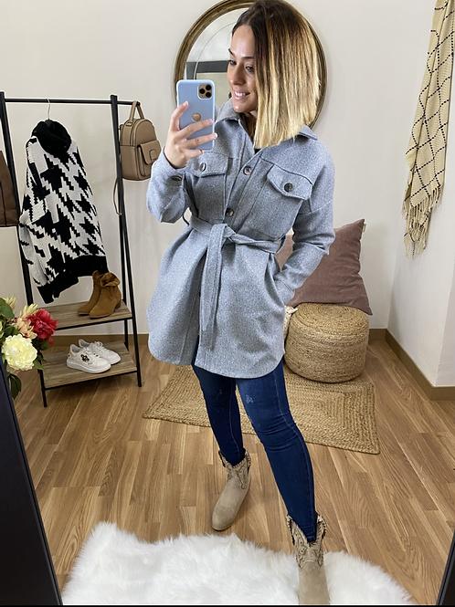 Abrigo paño bolsillos gris