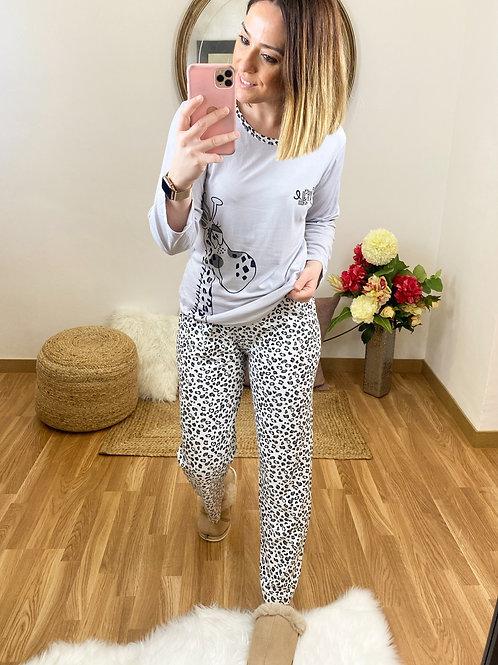 Pijama jirafa gris