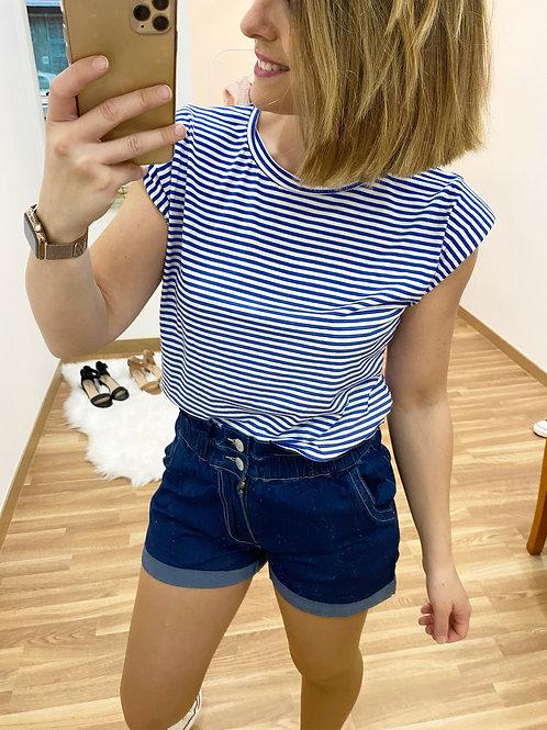 Camiseta hombreras rayas azul