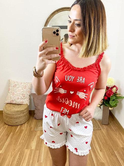 Pijama tirantes gatito rojo