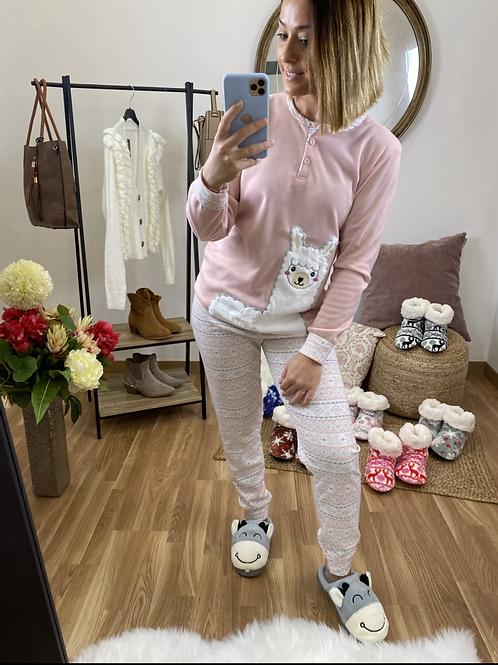 Pijama llama rosa