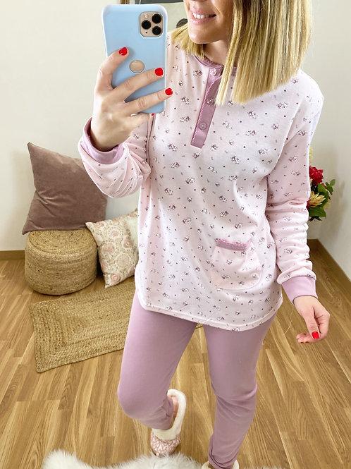 Pijama florecitas lila