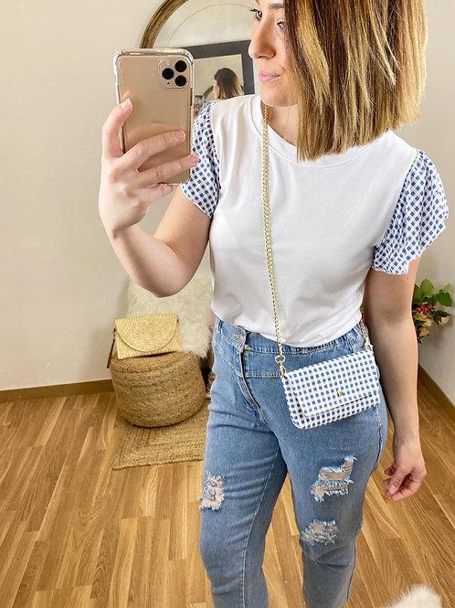 Camiseta & bolsito vichy azul