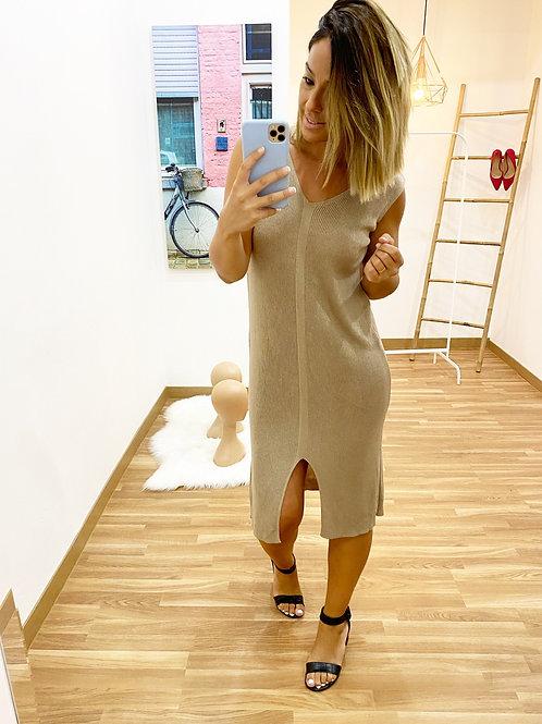 Vestido punto Andrea beige