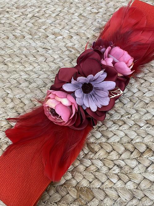 Cinturón floral rojo