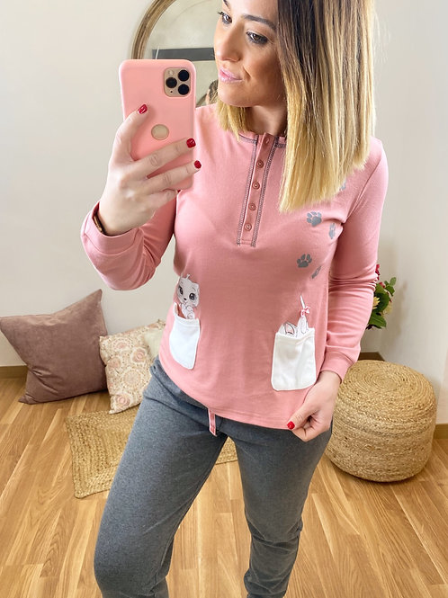 Pijama bolsillos gatito salmón
