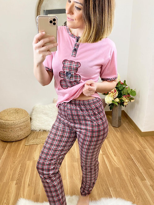 Pijama osito a cuadros rosa