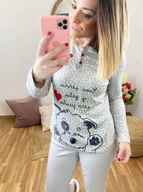 Pijama perrito topitos gris