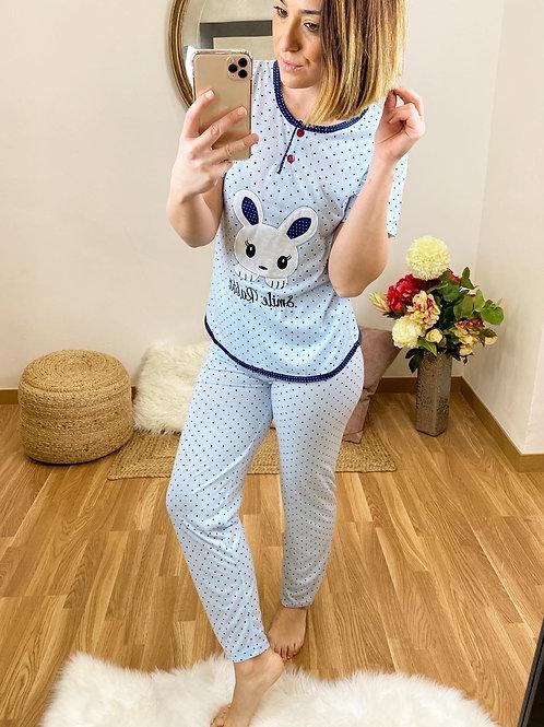 Pijama conejito topitos azul