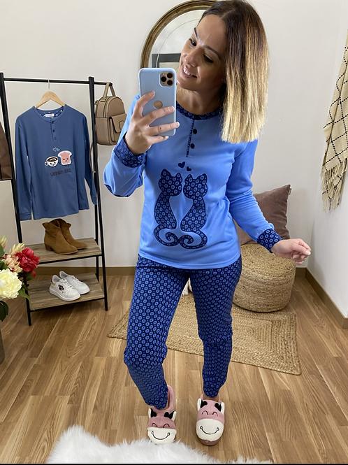 Pijama gatitos enamorados azul