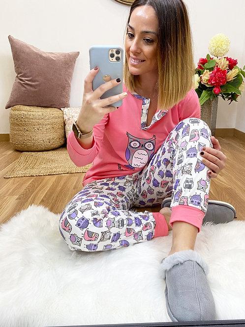 Pijama búho Rosa