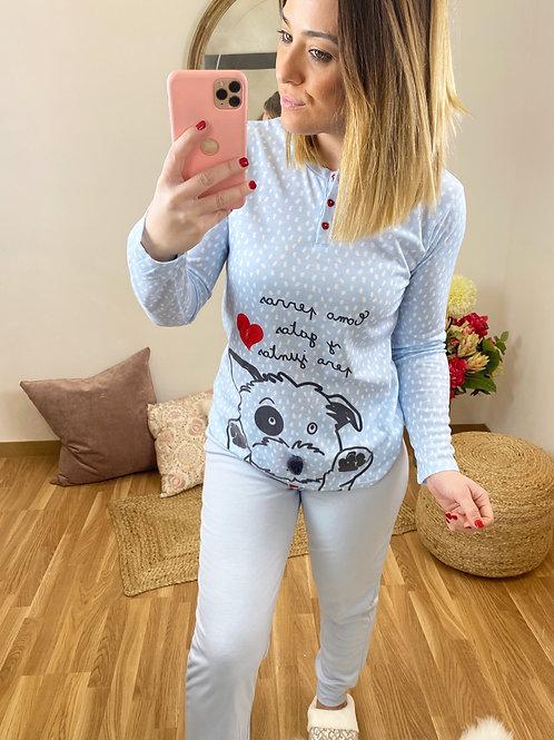 Pijama perrito topitos azul cielo